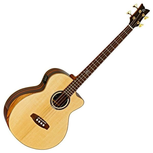 Ortega Electro Acoustic Bass, Solid Spruce Top - STRIPEDSU.ACB